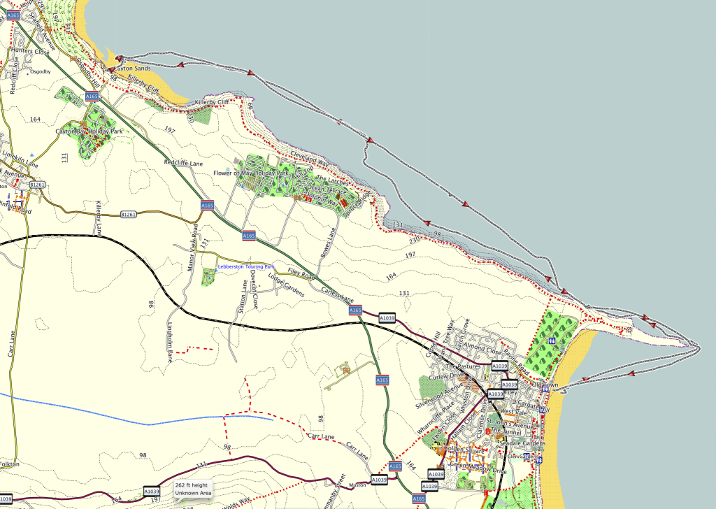 My GPS track from Filey to Cayton Bay - 14 Miles