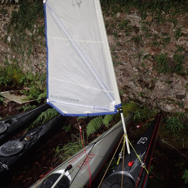 Kayak with sail fitted
