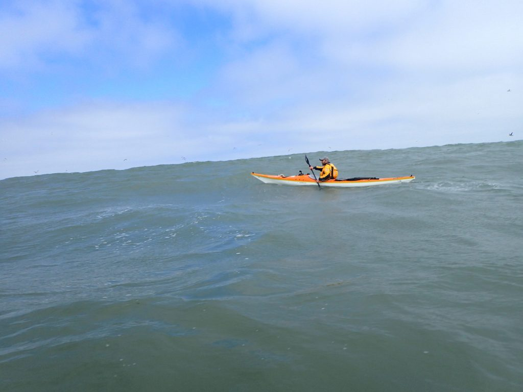 Paddling out to the big waves at North Smethic