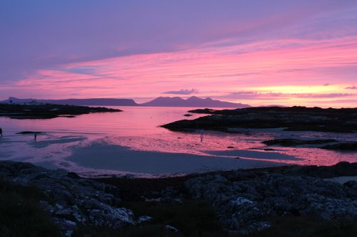 Eigg and Rum at sunset (and it was really that colour!)