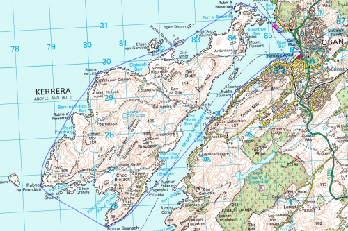 My route round Kerrera from my GPS