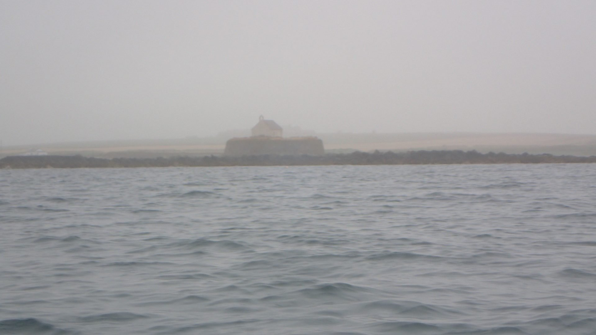The Church in the Sea in the fog